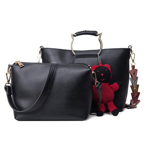 Outfit Metal Handle Bear Pendant Tote BLACK