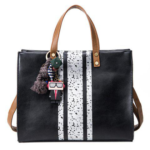 Chic Stripes Pendant PU Leather Handbag BLACK