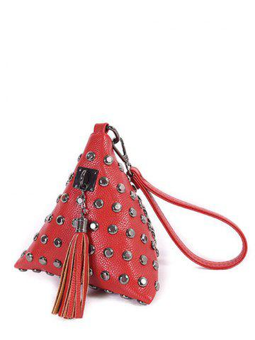 Store Studded Tassel Triangle Shaped Wristlet RED