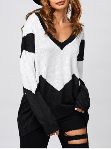 Trendy Patched Loose V Neck Sweater BLACK L
