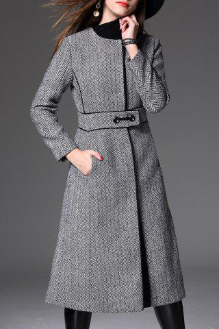 Chic Back Slit Tweed Coat GRAY L