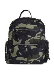 Pockets Camouflage Pattern Zippers Backpack