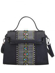 Bead Covered Closure Rivets Crossbody Bag