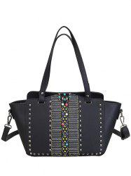 PU Leather Bead Rivets Shoulder Bag