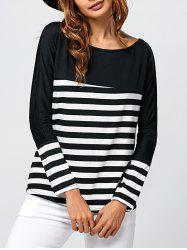 Boat Neck  Stripe Long Sleeve T-Shirt -