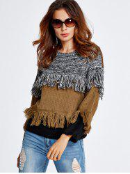 Color Block Fringe  Sweater