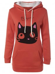 Flocking Cat Head Pocket Orange Hoodie