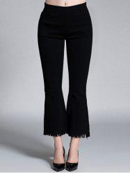 Plus Size High Waisted Bootcut Fringed Pants - BLACK 3XL