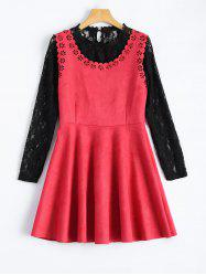 Laciness Suede Mini Dress With Lace Blouse -