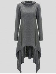 Pullover Asymmetric Hoodie - GRAY