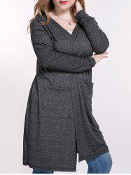 Heathered Plus Size Cardigan With Pockets - DEEP GRAY