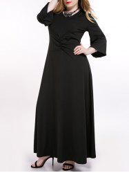 Plus Size Ruched Long Formal Dress with Sleeves