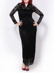 Sheer Plus Size Lace Bodycon Maxi Prom Dress