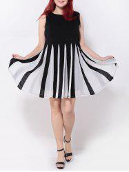 Pleated Patchwork Swing Dress - WHITE/BLACK 5XL