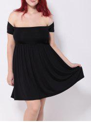 Off the Shoulder Pleated Empire Waist Cocktail Dress -