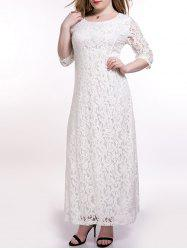Open Back Maxi Lace Wedding Guest Dress With Sleeves