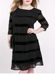 Tied-Up Striped Suede Panel Dress - BLACK 6XL
