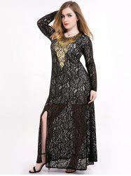 Plus Size Sheer Lace Slit Maxi Long Sleeve Dress