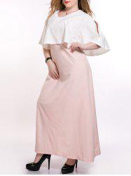 Plus Size Long Capelet Overlay Prom Dress - PINK AND WHITE 6XL