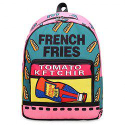 Color Blocking Letter Print Backpack