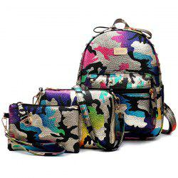 Rivet Camo Print PU Leather Backpack
