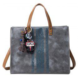 Stripes Pendant PU Leather Handbag