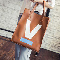 PU Leather Letter V Printed Shoulder Bag