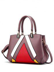 Metal PU Leather Color Block Handbag