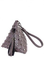 Studded Tassel Triangle Shaped Wristlet