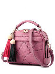Tassels Geometric Pattern Stitching Crossbody Bag