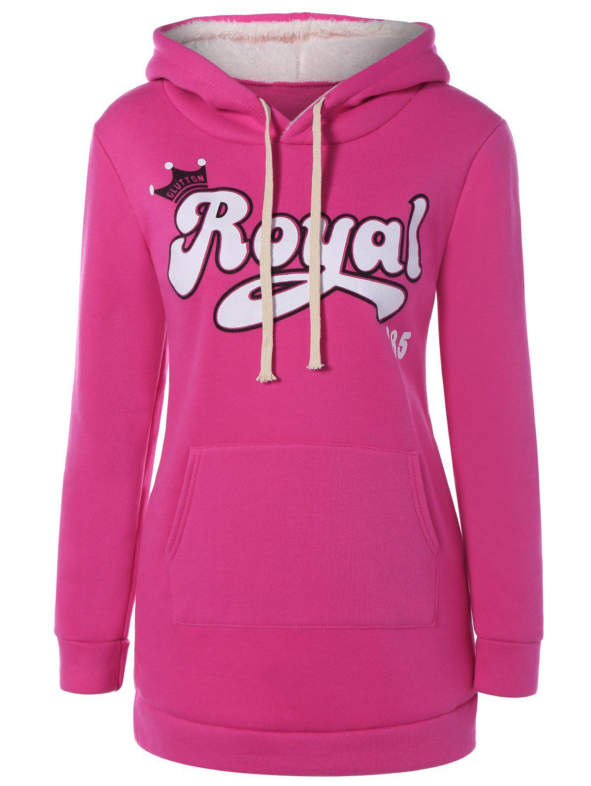 Pull Capuche Lettres ROYAL Poches Rouge Rose L