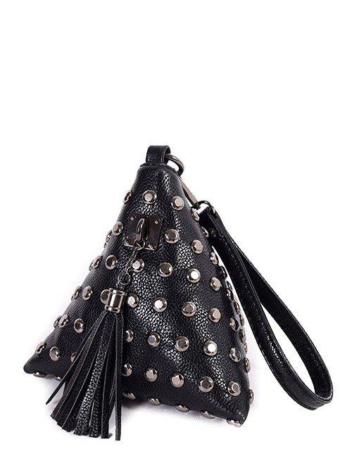 Cheap Studded Tassel Triangle Shaped Wristlet