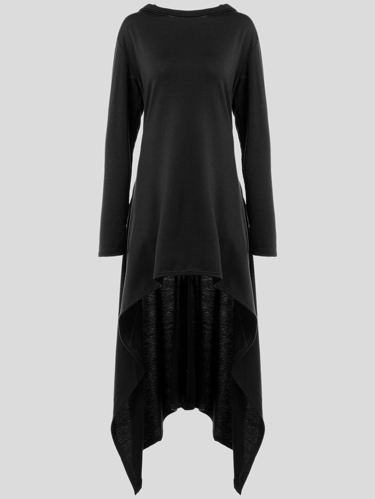 Pullover Asymmetric HoodieWOMEN<br><br>Size: 4XL; Color: BLACK; Material: Polyester; Shirt Length: Long; Sleeve Length: Full; Style: Fashion; Pattern Style: Solid; Season: Fall,Spring; Weight: 0.668kg; Package Contents: 1 x Hoodie;