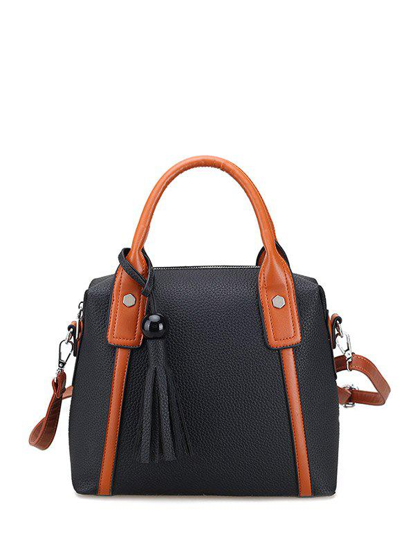 Online Textured Leather Tassels Color Spliced Tote Bag