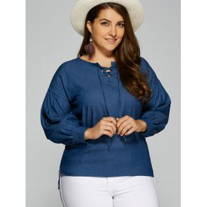Plus Size Lace-Up Side Slit Blouse -