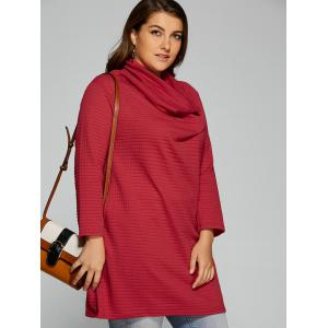 Plus Size Cowl Neck Textured Blouse - DEEP RED L