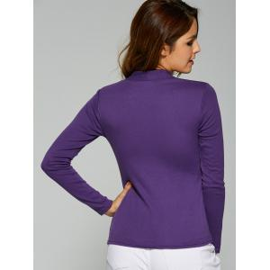 Square Collar Button Embellished T-Shirt - DEEP PURPLE XL