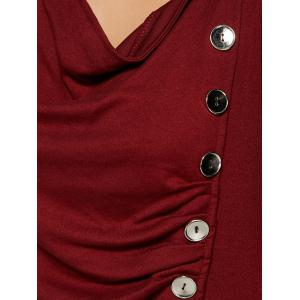 Ruched Button Embellished T-Shirt - WINE RED XL