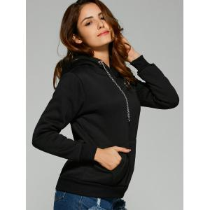 Chain Embellished Letter Print with Pocket Hoodie -