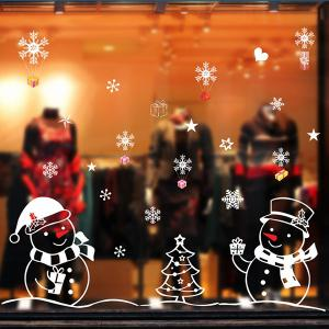 Christmas Snowmans Removable Glass Window Wall Stickers - COLORMIX