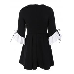 Bowknot Ruffles Cuff Fit and Flare Dress - BLACK ONE SIZE