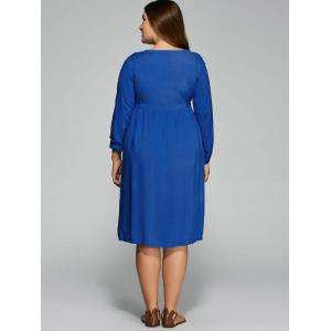 Plus Size Empire Waist Loose-Fitting Dress - BLUE 2XL