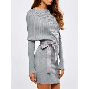 Batwing Knit Dress With Bowknot Sash - Light Gray - M