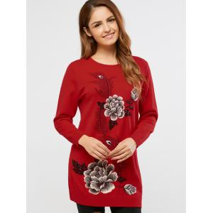 Rhinestoned Peony Print Long Sweater -