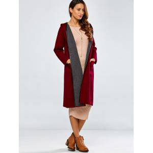 Covered Edge Reversible Hooded Cardigan - WINE RED ONE SIZE