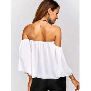 Off The Shoulder Backless Chiffon Blouse - WHITE XL