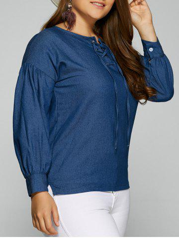New Plus Size Lace-Up Side Slit Blouse