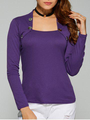 Chic Square Collar Button Embellished T-Shirt DEEP PURPLE XL