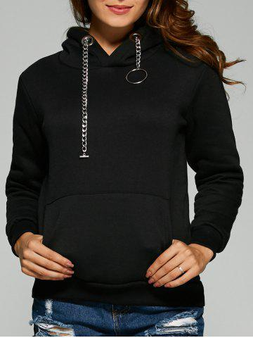 Chic Chain Embellished Letter Print with Pocket Hoodie
