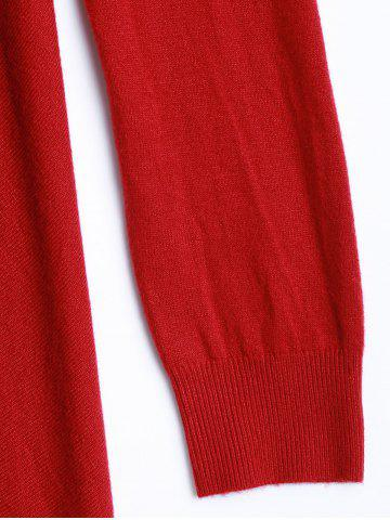 Affordable Plus Size One Tassel Knit Cardigan - ONE SIZE RED Mobile